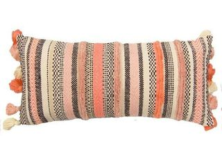 The Curated Nomad Quane Handwoven Ivory  Coral Stripes Accent Pillow