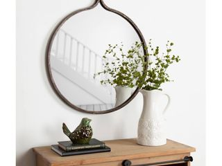 Kate and laurel Yitro Round Industrial Metal Framed Wall Mirror