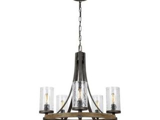Angelo 24 in  W  5 light Distressed Weathered Oak and Slate Grey Metal Chandelier