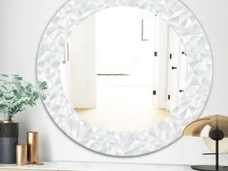 Designart  Abstract White Geometric Pattern Mid Century Mirror   Oval or Round Wall Mirror   31 5 in  wide x 31 5 in  high   White
