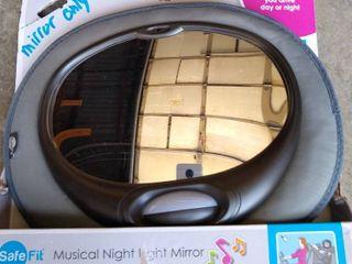 SafeFit Musical Night light Mirror  Baby Car Mirror  Black