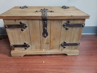 Household Essentials Victorian Storage Trunk with Metal Hinge Accents  Small