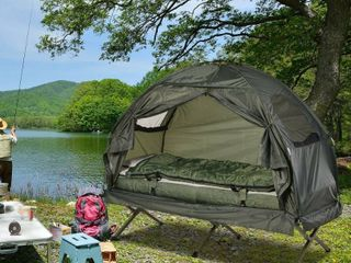 Outsunny Portable Camping Cot Tent with Comfortable Air Mattress  Warm and Cozy Sleeping Bag  and a Supportive Pillow