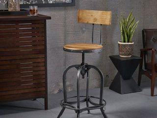 Stirling Adjustable Wood Backed Bar Stool by Christopher Knight Home