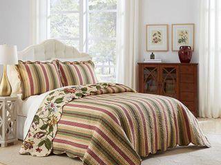 Floral laurel Springs Bedspread Set  Queen  3pc   Waverly