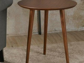 Evie Wood End Table with Faux Wood Overlay by Christopher Knight Home   20inl x 20inW x 22inH   natural walnut