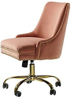 Bella Velvet Fabric Task Chair with Gold Base and Nailhead for Home Office   Pink