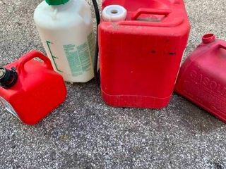 Plastic gas cans and chemical sprayer