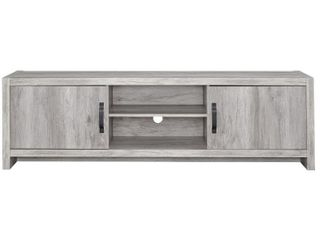 Modern Grey Driftwood 2 door TV Console   70 75  x 15 50  x 21 50  Retail 219 99