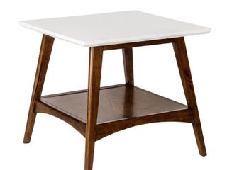 Madison Park Avalon White  Pecan End Table  Retail 134 11