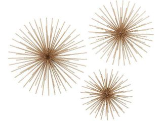 large Gold Starburst Metal Wall Decor Sculptures  Set of 3  24  20  16  Retail 98 49