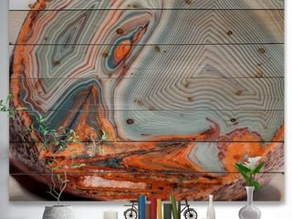 Designart  Beautiful lake Superior Agate  Abstract Print on Natural Pine Wood   Grey  Retail 147 49
