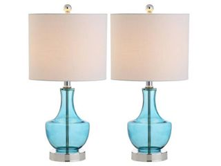 Colette 20  Glass Table lamp  Amalfi Blue  Set of 2 by JONATHAN Y   Retail 97 99