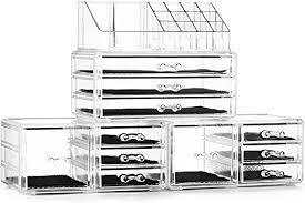 Home Acrylic Jewelry Cosmetic Storage Box Makeup Organizer 4 Piece