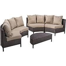 Newton Outdoor 4 seater Wicker Sectional Sofa Set by Christopher Knight Home  799 99