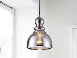 Alita Antique Black Pendant with Smoked Bubble Glass and Chrome Edge