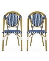 Elize Outdoor French Bistro Chair  Set of 2  by Christopher Knight Home  Retail 201 99 blue and white bamboo print