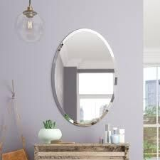 frameless beveled oval wall mirror