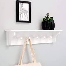 24  Floating Coat and Hat Wall Shelf Rack  5 Pegs Hook  Black White