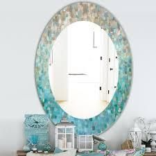 Silver Orchid Brian  Blocked Abstract  Traditional Mirror   Blue  Retail 166 49