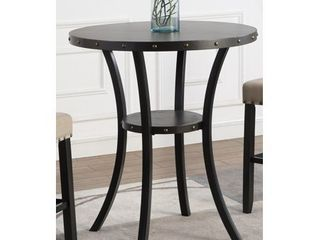 Biony 36  Round Espresso Finish Bar Table Nail Head Trim  Retail 205 99