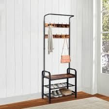 zimtown 3 in 1 Vintage Coat Rack Shoe Bench  Hall Tree Entryway Storage Shelf brown and black metal