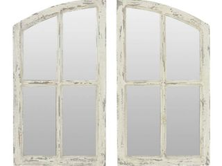 Jolene Arched Window Pane Mirrors  Set of 2    White   27 h x 15 w x 1 d  Retail 107 99