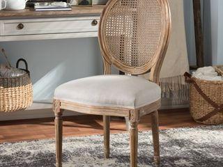 Baxton Studio Oulixeus French Vintage Cottage Weathered Oak Finish Wood and Beige Fabric Upholstered   Retail 274 49