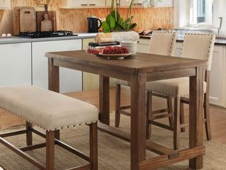 Furniture of America Tays Rustic Brown Counter Height bench only