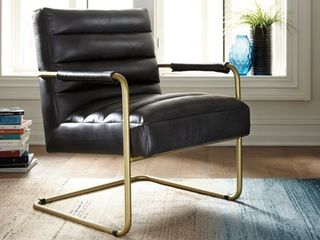Hackley Urban Faux leather Black Accent Chair  Retail 302 49