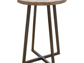 FirsTime   Co  Miles Rustic Farmhouse Wood Table  American Crafted  Natural  Metal  16 x 16 x 22 in   16 x 16 x 22 in