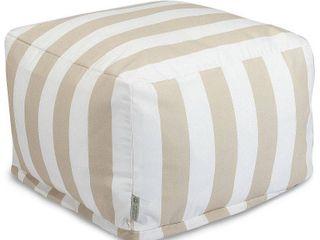 Majestic Home Goods Vertical Stripe Ottoman Outdoor Indoor  Retail 107 49