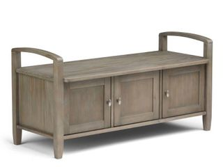 WYNDENHAll Norfolk SOlID WOOD 44 inch Wide Rustic Entryway Storage Bench   44 Inches wide  Retail 302 99