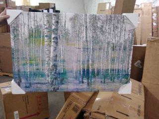 parvezta teal tree forest painting