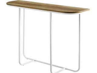44  Modern Curved Entry Table   Reclaimed Barnwood White