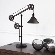 Carbon loft Tirith Industrial Farmhouse Table lamp with Pulley System  Retail 107 89