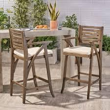Hermosa Outdoor Acacia Wood Barstool with Cushion  Set of 2  by Christopher Knight Home  Retail 274 99 grey finish and cream cushions