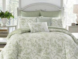 laura Ashley Natalie Green Floral Comforter Bonus Set  Retail 85 93