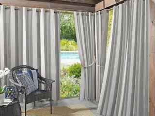 Sun Zero Valencia Cabana Stripe Indoor Outdoor Curtain Panels