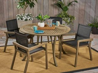 lockett Outdoor Acacia wood chairs only set of 2 grey finish and textilent