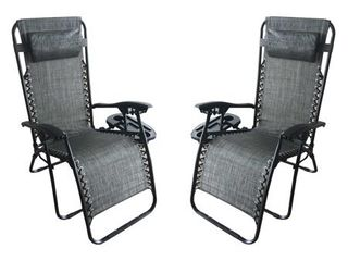 Zero Gravity Recliner   lounger   Cup Holder in Grey Mesh Fabric 2Pk  Retail 155 99