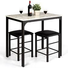 costway 3 piece Counter Height Rectangle Dining Table and 2 Stools Faux Marble  Retail 151 49
