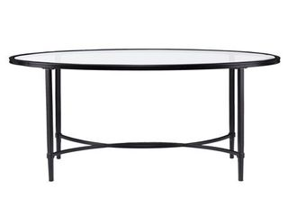 Quaker Metal Glass Oval Cocktail Table   Black  Retail 129 99
