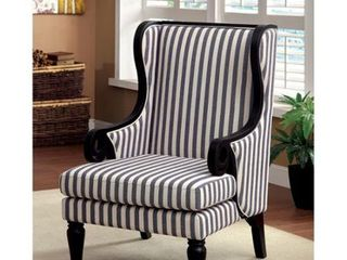 Furniture of America Ravi Transitional Blue Fabric Wingback Chair  Retail 460 99