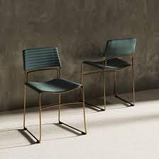 Modrest Swain Modern Green Fabric   Gold Dining Chair  Set of 2  Retail 173 99