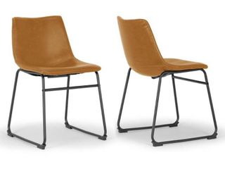 Set of 2 Adan Iron Frame Vintage Cappuccino Faux leather Dining Chair  Retail 127 49