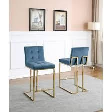 Best Quality Furniture Velvet with Button Tufted Back and Gold Stainless Steel legs Counter Height Chairs  Retail 480 15 set of 2