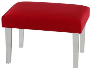 Cortesi Home Whitecrest Bench Ottoman with Clear Acrylic legs 24  Wide  Red Velvet  Retail 123 49