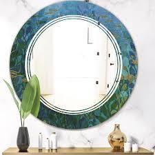 Designart  Blue Underwater lake leaves II  Modern Round or Oval Wall Mirror   Triple C  Retail 199 49