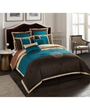 Grand Avenue Opal Brown Embroidered 8 piece Comforter Set  Retail 113 99
